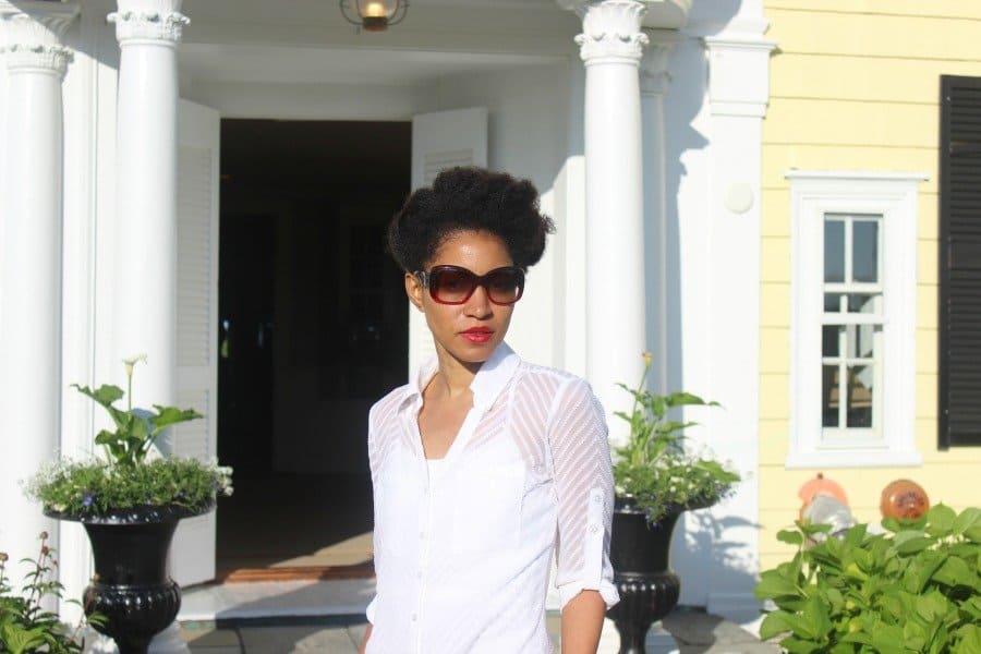 white gauze shirt