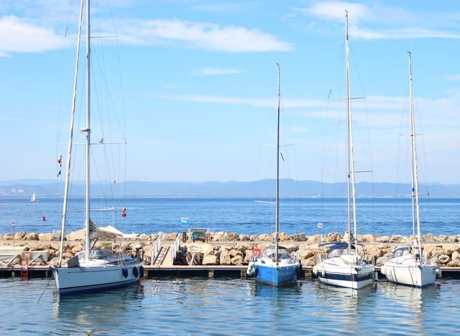 boats at la pouquirolles island in french riviera