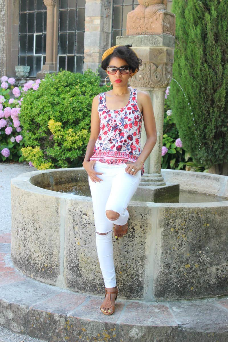 red white and blue floral shirt11 and white pants