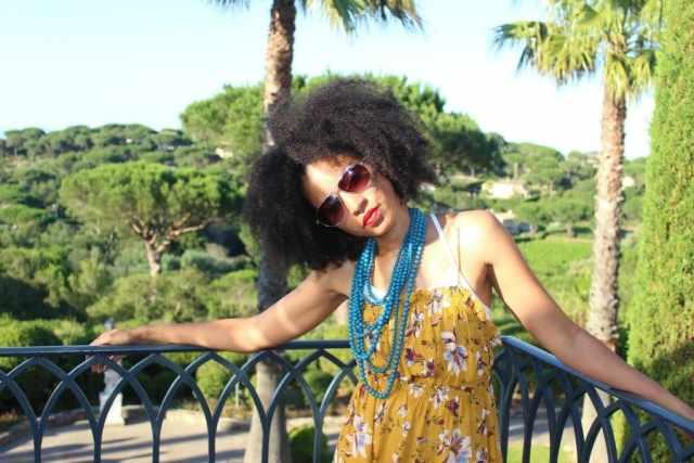 mustard short sleeveless free people floral dress at chateau de la Messardiere2