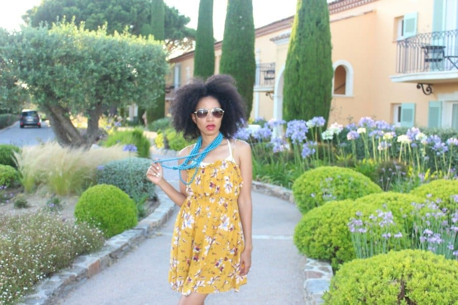 mustard short sleeveless free people floral dress at chateau de la Messardiere6