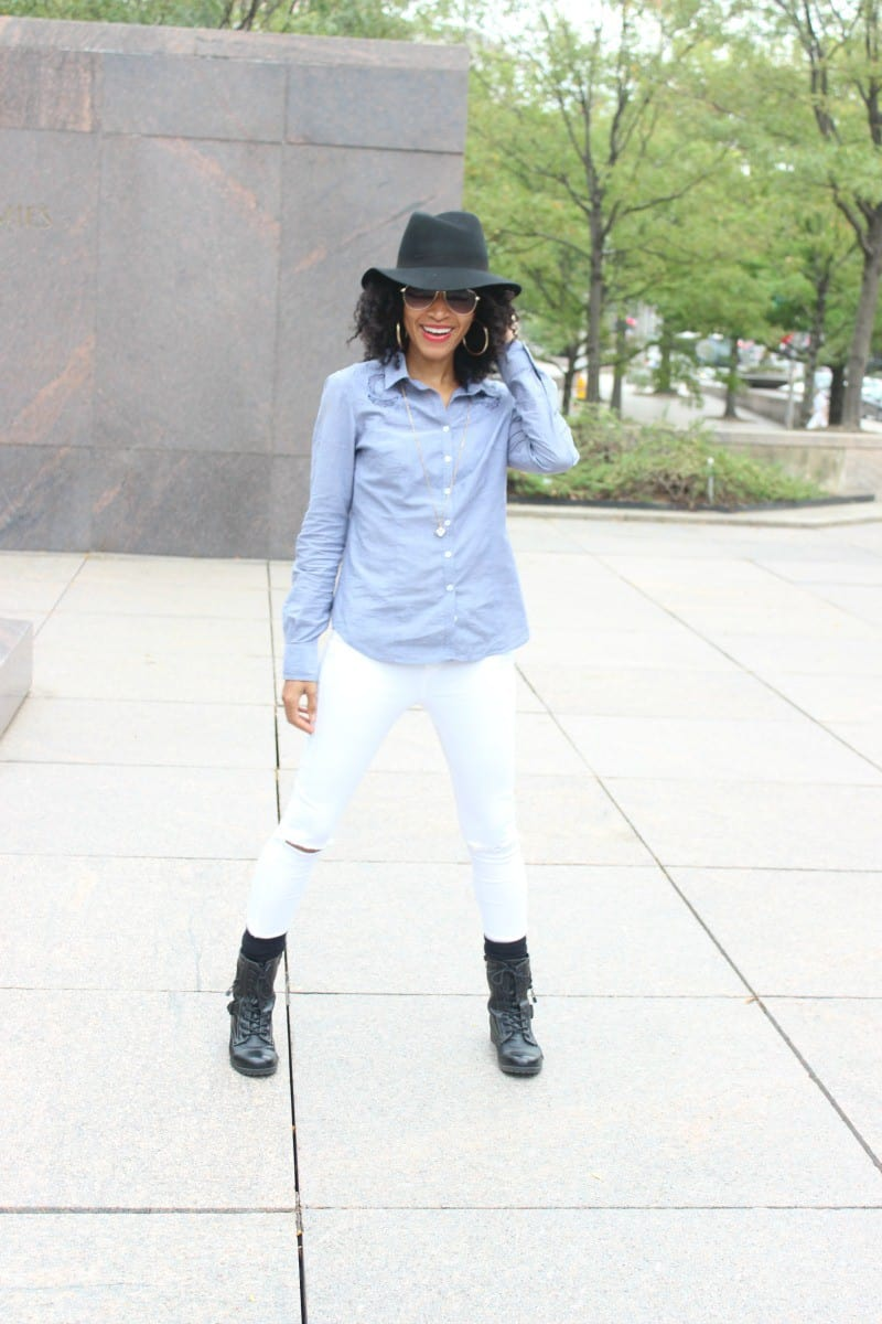white topshop ripped jeans and chambray shirt