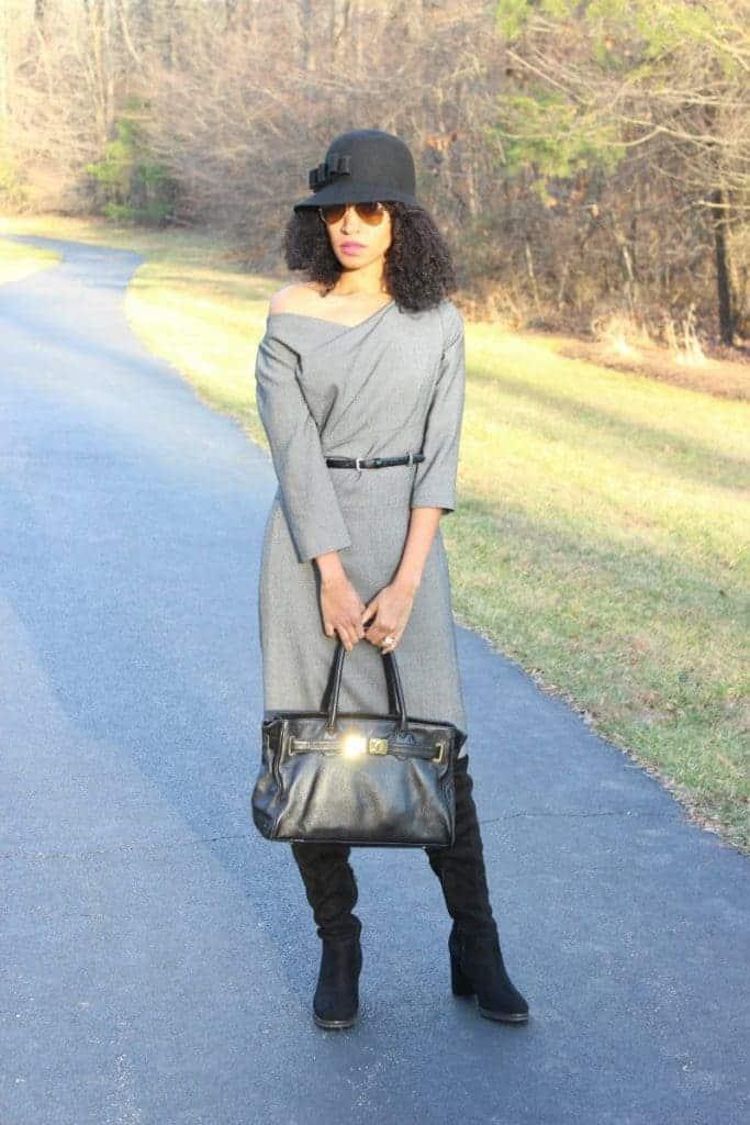 asymetric black and gray tahari dress winster fashion