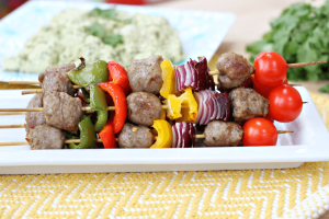 Sausage and peppers skewers is a quick dinner in under 25 minutes.