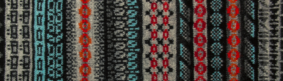 Swatch from forthcoming KNITSONIK Stranded Colourwork Sourcebook, featuring designs based on Edirol recording device