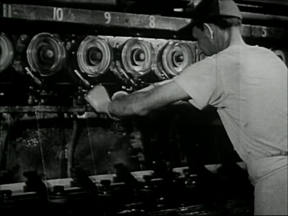 Rayon viscose synthesis as documented in a 1949 US film, 'Synthetic Fibres - Nylon and Rayon'