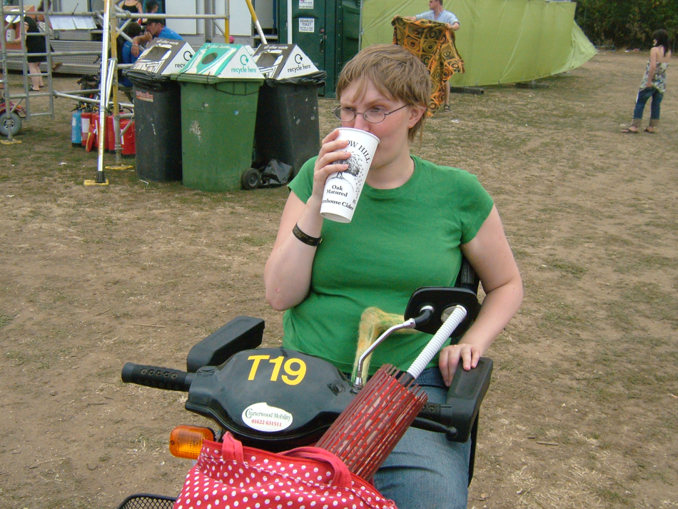 with cider and mobility scooter, WOMAD 2006