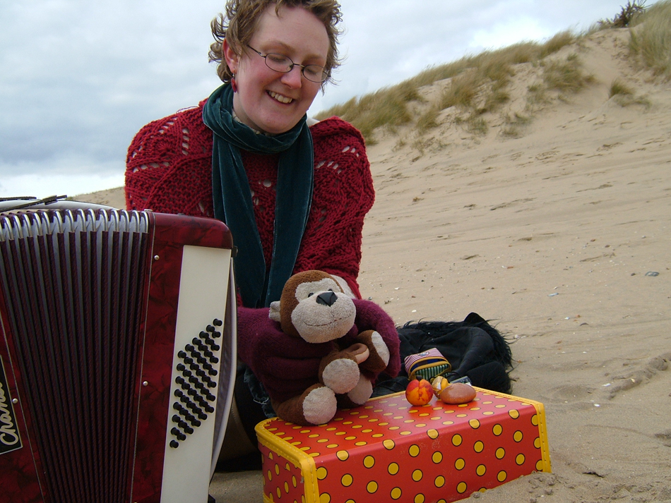 playing on Camber Sands beach, 2005