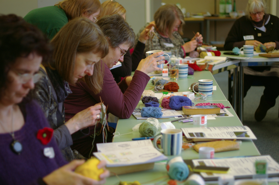 Teaching Quotidian Colourwork at Purlescence in 2015