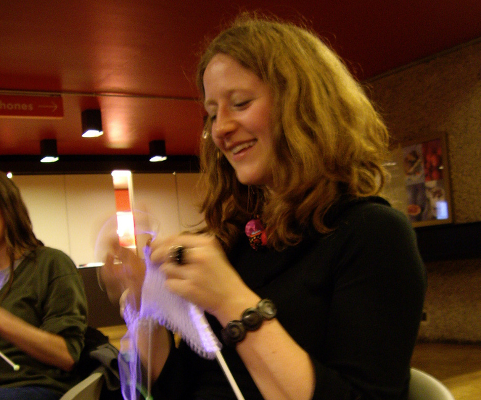 Lara at the glow in the dark knitting event at the Barbican on International Woman's Day in 2008
