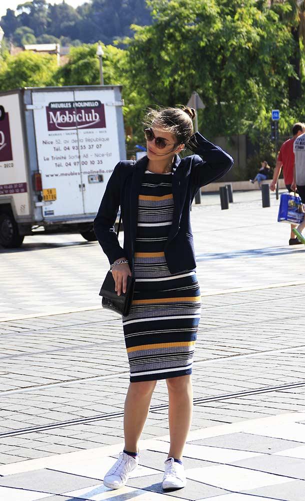Steifenkleid New Yorker Blazer H&M Nizza Outfit