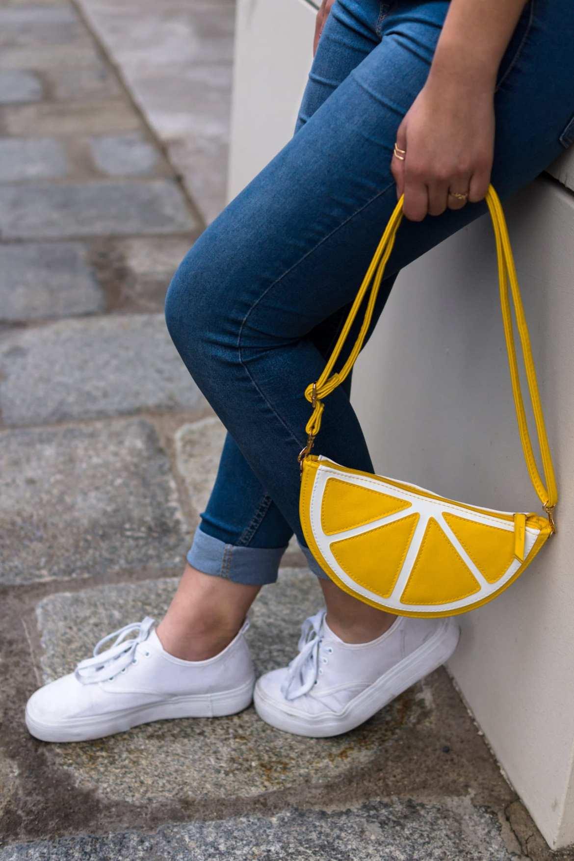 Blue Jeans H&M lemon Handbag and white even&odd Shoes The Dorie