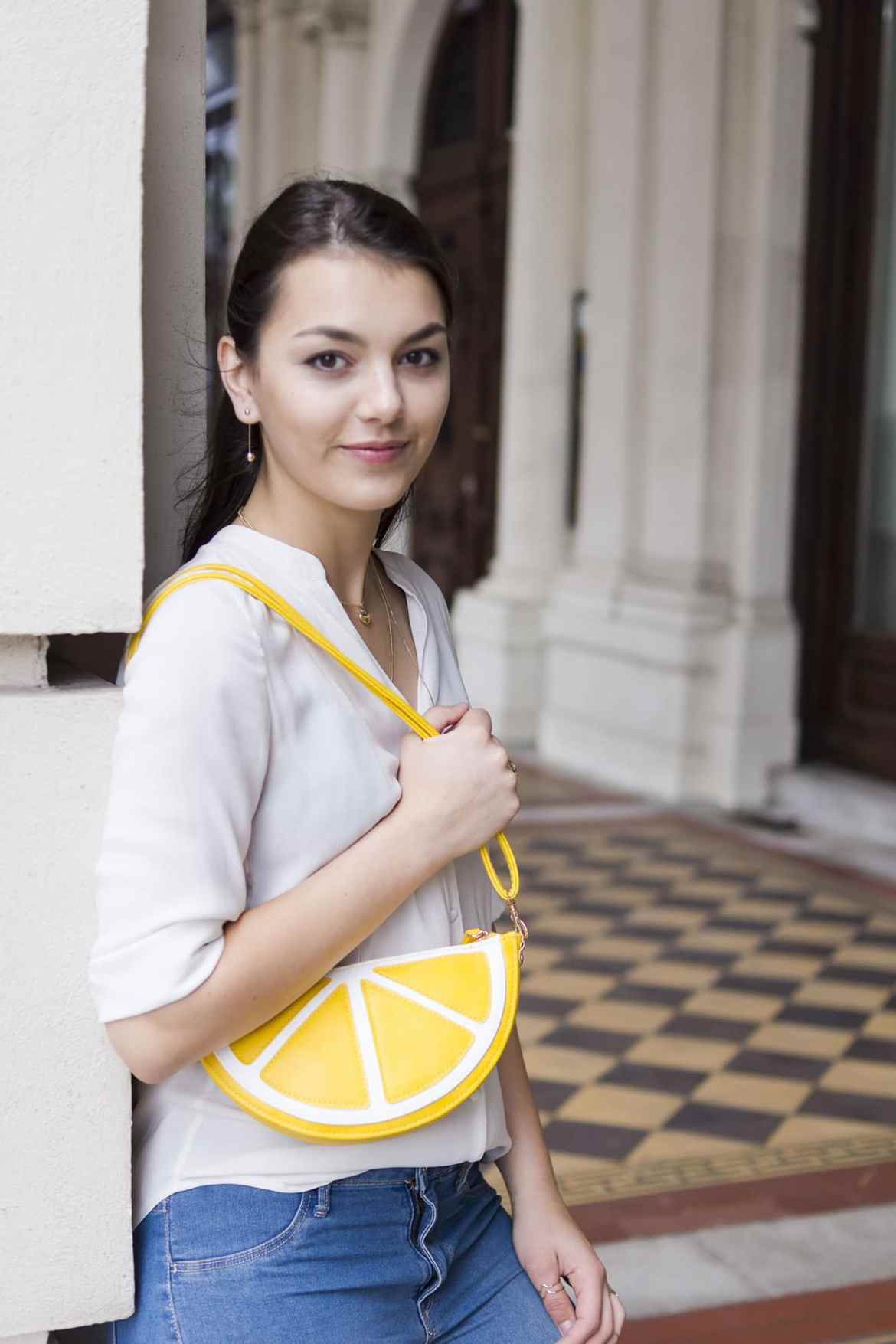 White Blouse lemon handbag