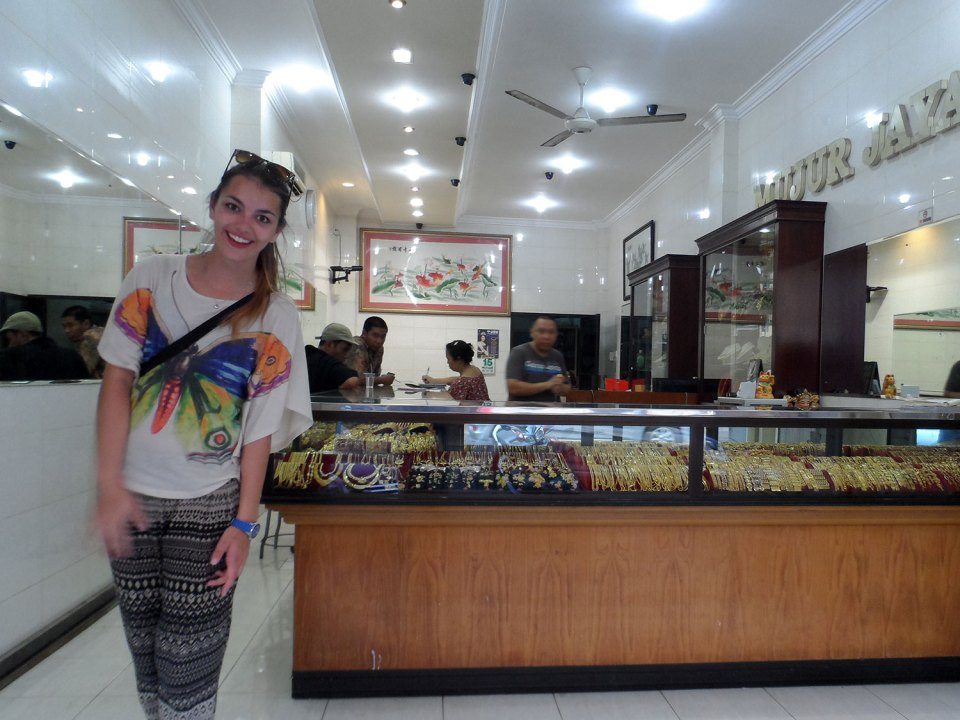 Dorie laughing in a gold store in Makassar in Sulawesi