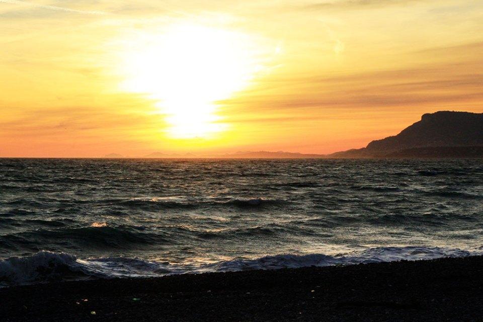Sonenuntergang übern Meer von Ventimiglia