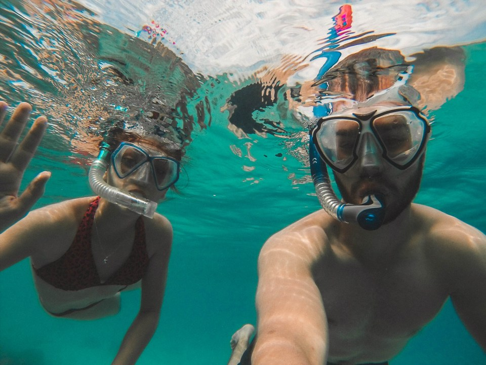 Dorie and Timo snorkeling at Togians Islands