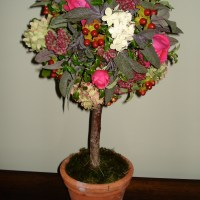 Topiary tree made from garden flowers