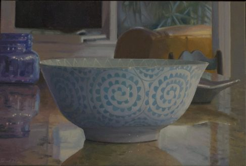 "Spiral Bowl with Flat Screen, oil on linen, 16"" x 24"""