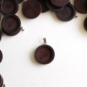 Dark Wood Dot Pendant