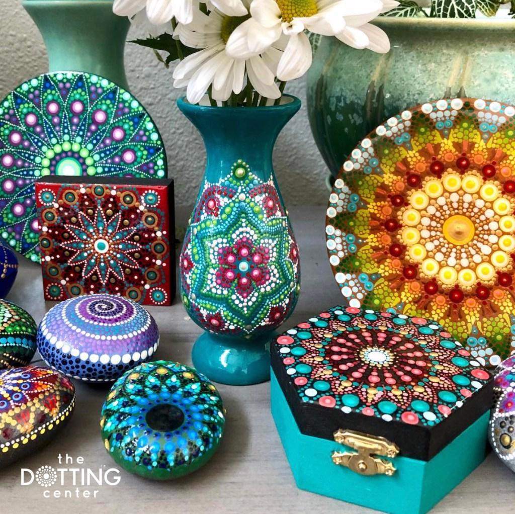dot mandala art display