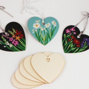 3″ Wood Heart Ornaments