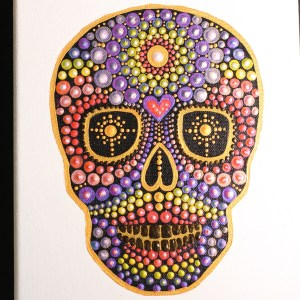 Rainbow Skull PDF dotting pattern plus YouTube tutorial