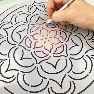 12″ Flower Stencil – Large Mandala Stencil for dot mandala canvas