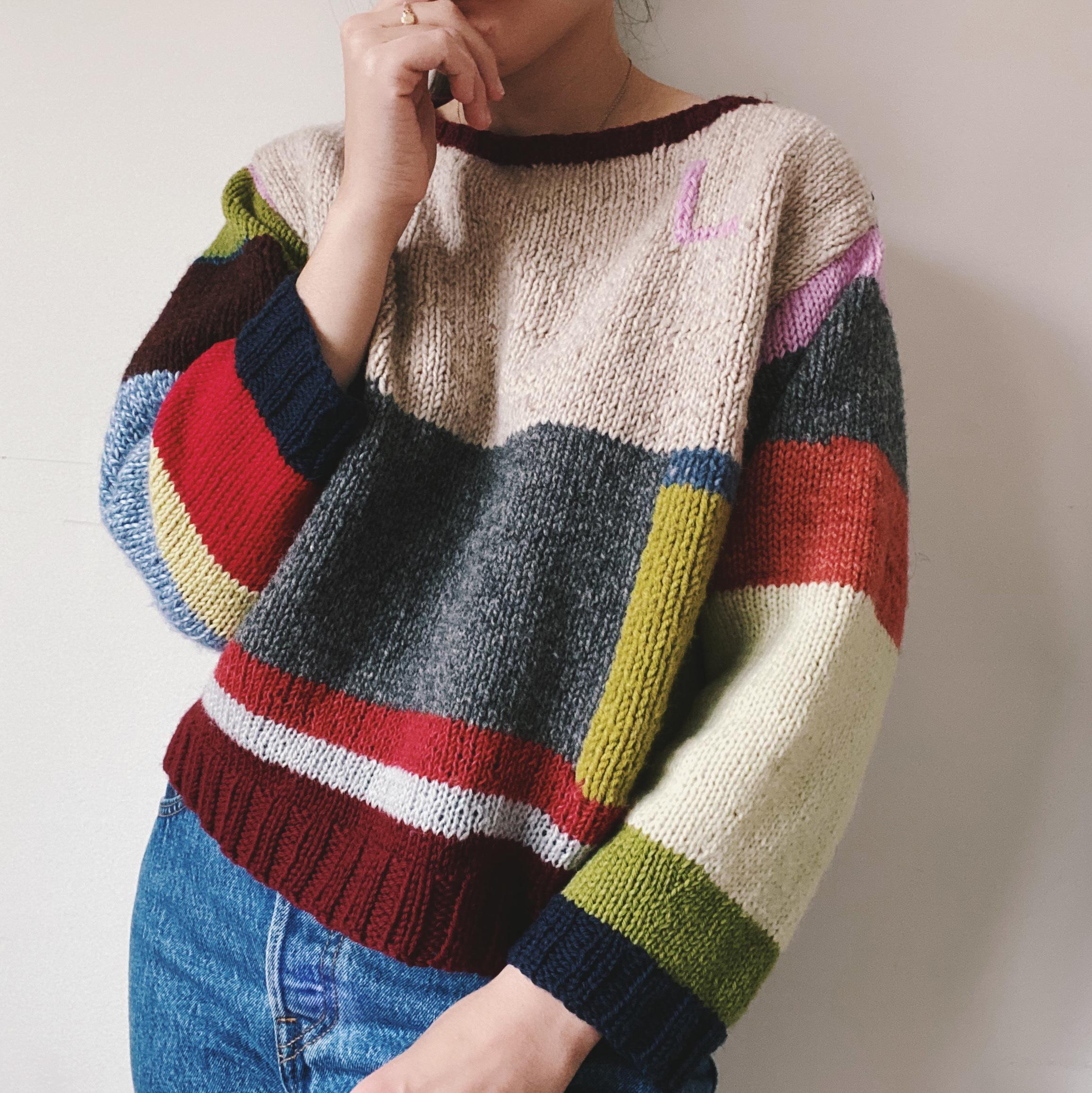 multicoloured handmade sweater