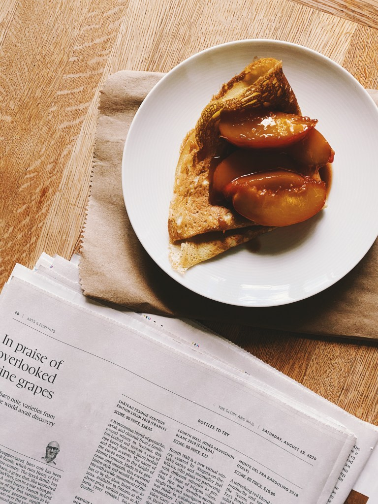 crepe with caramel peaches