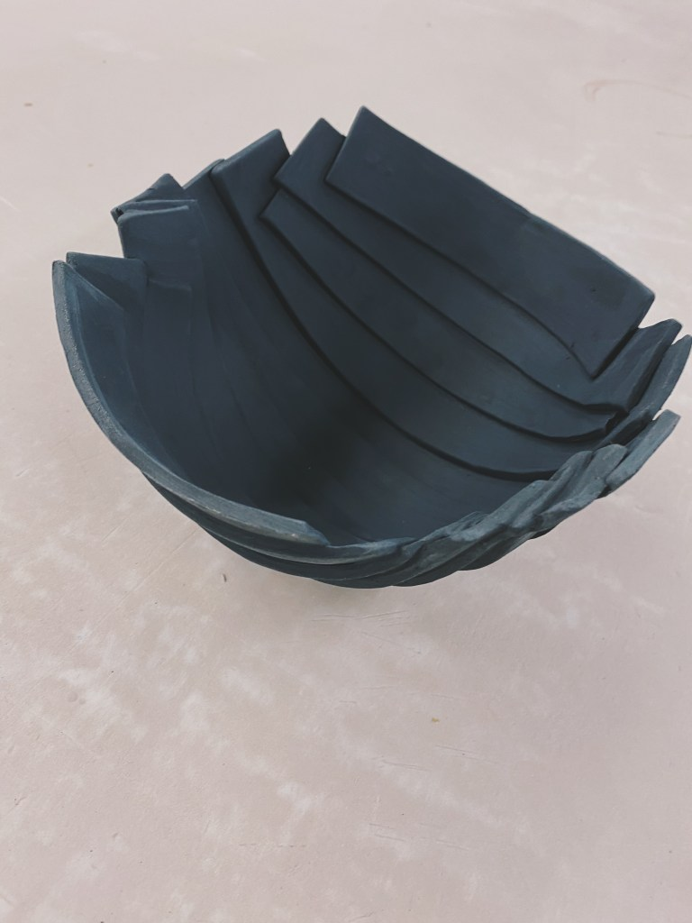 black clay slab bowl ceramics