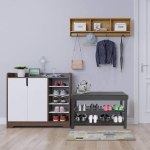 Storage Benches Home Fome Entryway Shoe Storage Organizer With Cushion Padded Seat Shoe Wearing Bench Seat Storage 2 Tier Shoe Rack 1 Hidden Compartment For Entryway Bathroom Living Room Shoes Bench