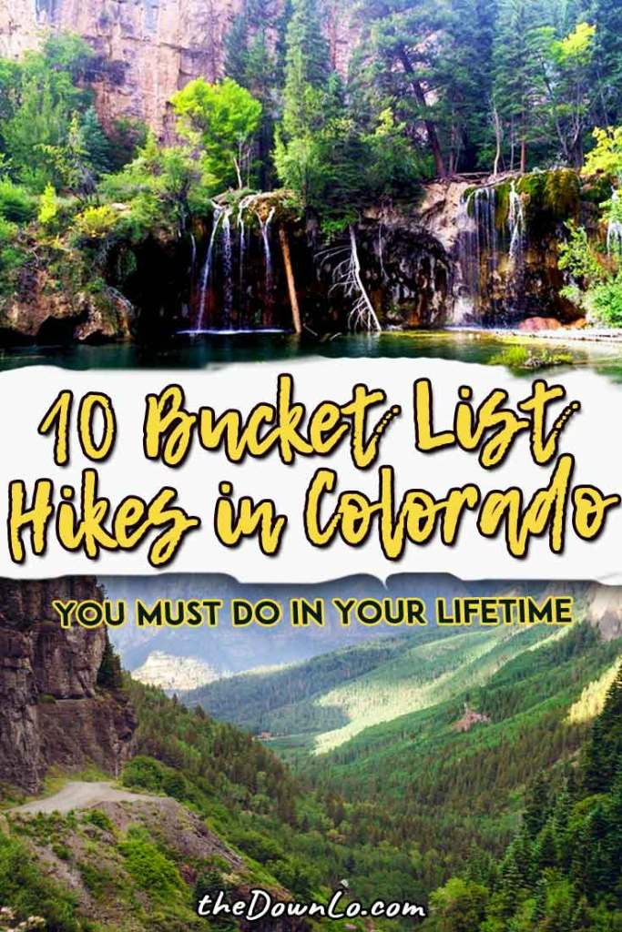The best Colorado hiking trails for easy mountains, waterfalls, and photography near Denver. For beginners to experts to get mountain views. Summer, spring and fall pictures and ideas for day trips near Boulder, Estes Park, Fort Collins, Rocky Mountain National Park, and Colorado Springs. Nature, adventure, and beautiful places. 14ers, red rocks, Garden of the Gods and Maroon Bells. Getting outdoors is one of the best things to do in Denver with kids. #colorado #hikes #hiking