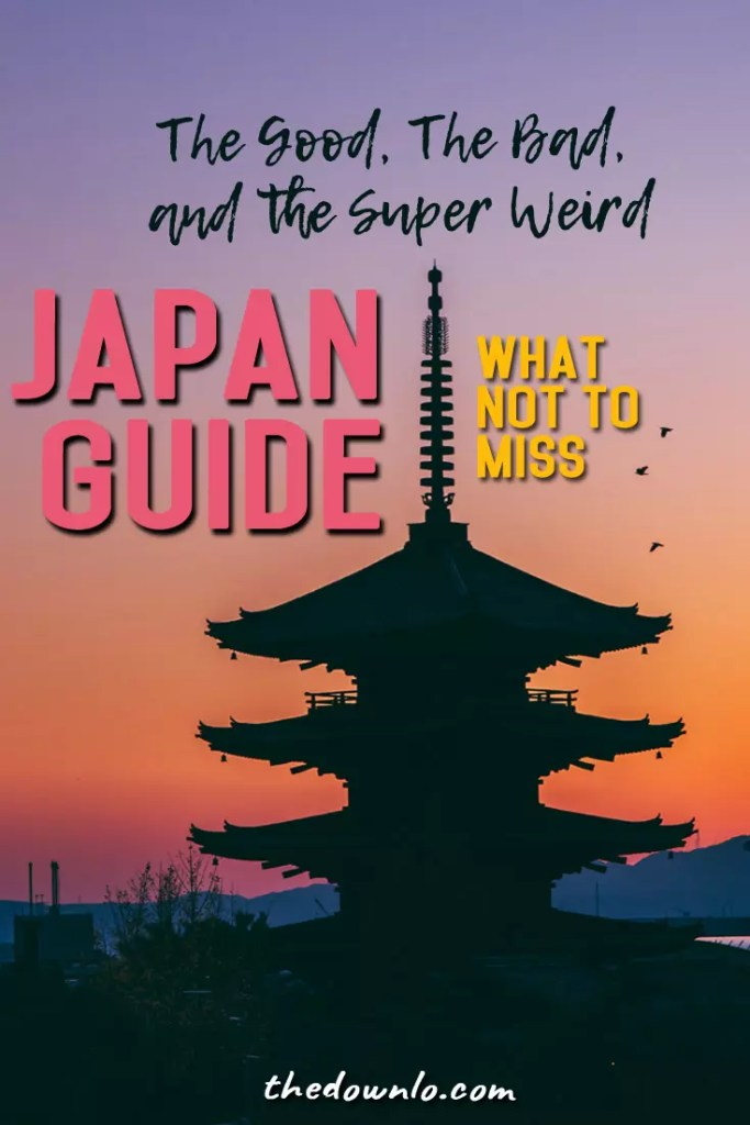 Weird things only in Japan: funny places, food and crazy fun things to do in Osaka, Tokyo, and Kyoto. A guide and bucket list tips for unique culture, cherry blossoms, cool photography spots, best Instagram pictures, temples, onsen, theme cafes, and wtf travel moments for Asia bucket lists. #japan #tokyo #osaka #travel #asia #weird