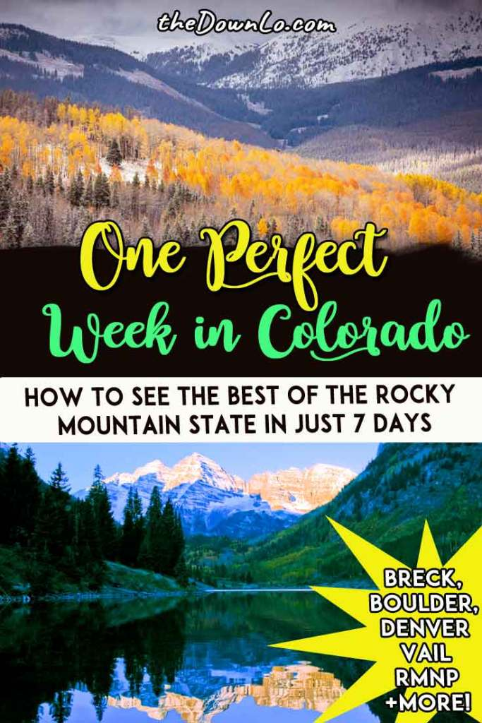 The ultimate Colorado road trip itinerary for epic places to visit from Denver and Boulder to Vail, Breckenridge, Estes Park, Colorado Springs, and the Rocky Mountains. Get a taste of adventure driving through one of the USA's most beautiful states in summer, spring, fall or winter. It's one of the top destinations for cars, nature, and the outdoor so here's to fuelling your vacation wanderlust. #america #colorado #roadtrip #roadtrips