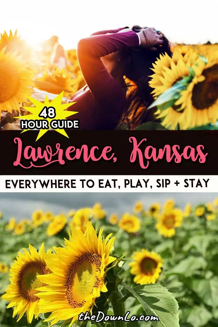 Things to do for a weekend in Lawrence, Kansas. Photography spots and sunflower fields, downtown shopping, restaurants, and pictures to inspire your trip to KU (the University of Kansas). Things to do on campus and beyond and an easy day or weekend road trip from Kansas City, MIssouri. Rock Chalk Jayhawk! #travel #kansas #ks #roadtrip #kansascity #lawrence #sunflowers