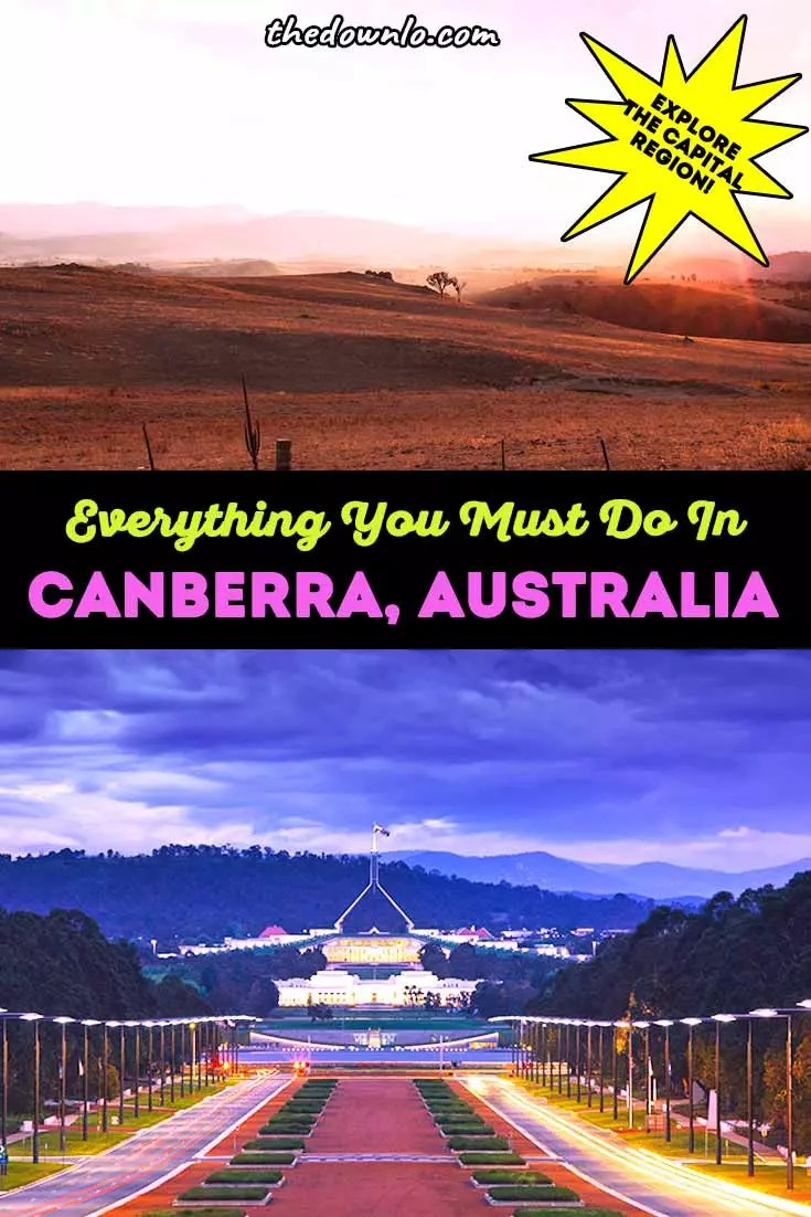 Things to do in Canberra, Australia's Capital Region (ACT). The best food, Instagram photography spots, city attractions like the lake, architecture, and garden museums. Don't miss the Parliament House, War memorial, Telstra Tower, art museum, national parks, animals, and landscape. A travel guide and photos to inspire your trip. #canberra #australia #travel