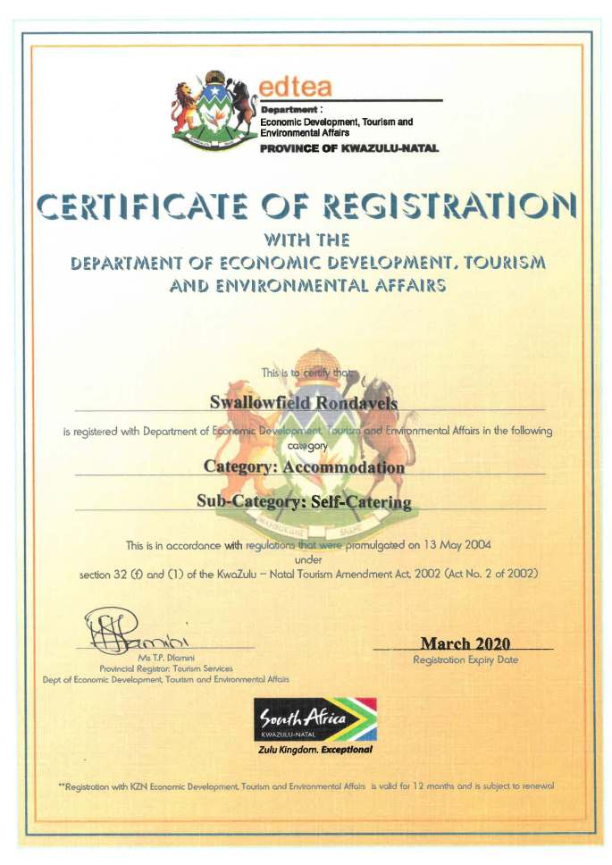 Cathkin Booking and Management Services. Tourism consultancy. Rondavels Self-Catering Accommodation - certificate of registration