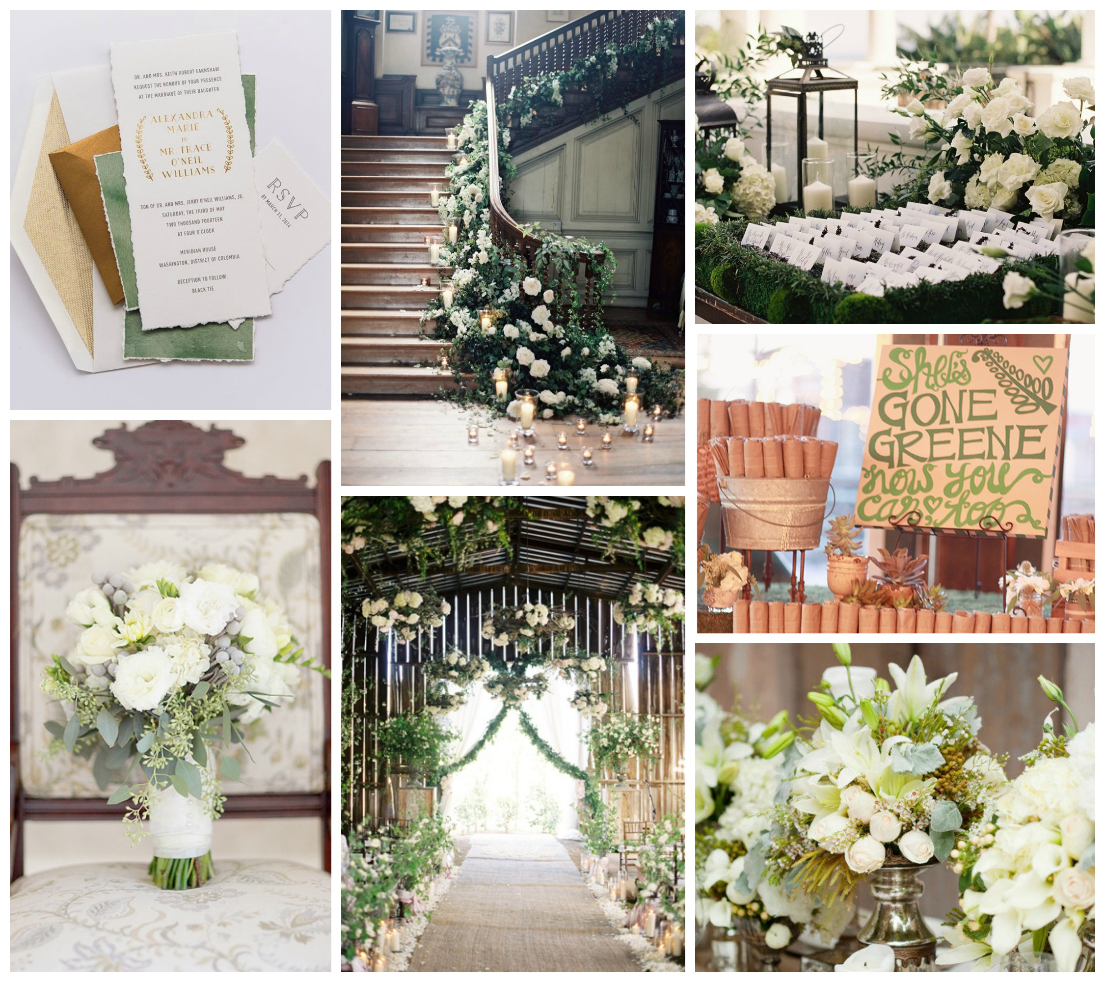 green white wedding inspiration