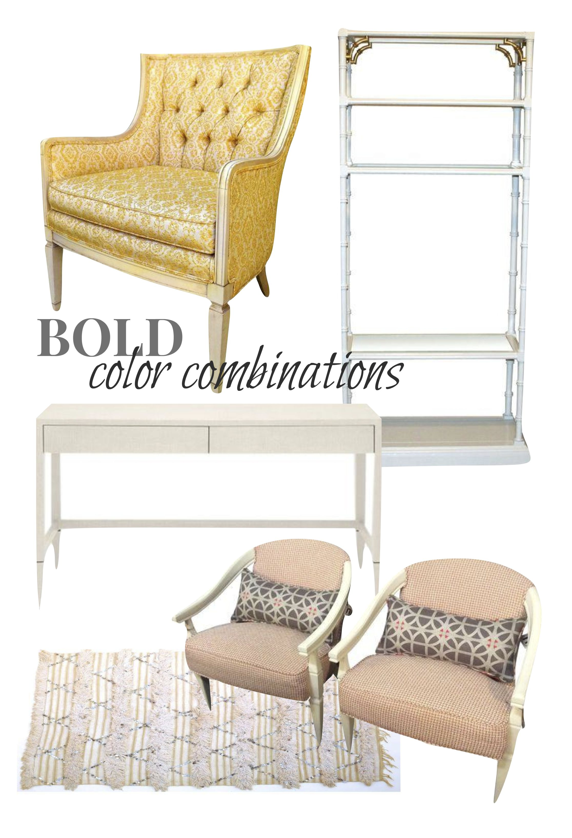 All Items Above Via Chairish |Vintage Butter Cream Brocade Arm Chair| Made  Goods Conrad Desk| Faux Bamboo Etagere| Vintage Moroccan Rug| Orange And  Ivory ...