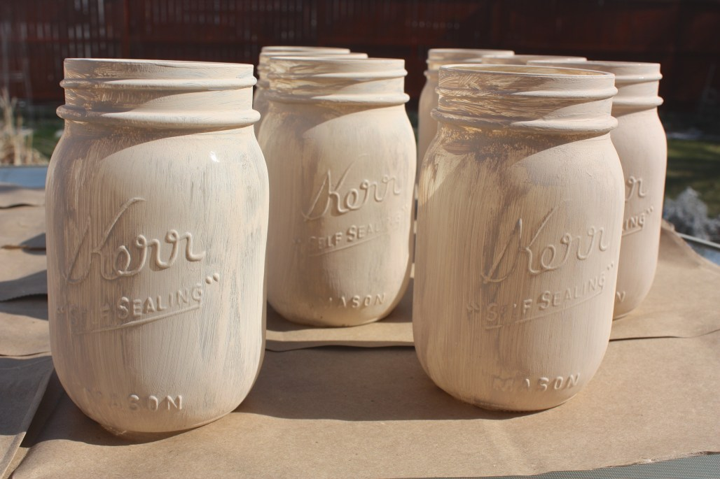 How To : Rustic Painted Mason Jars + Orange Easter Florals