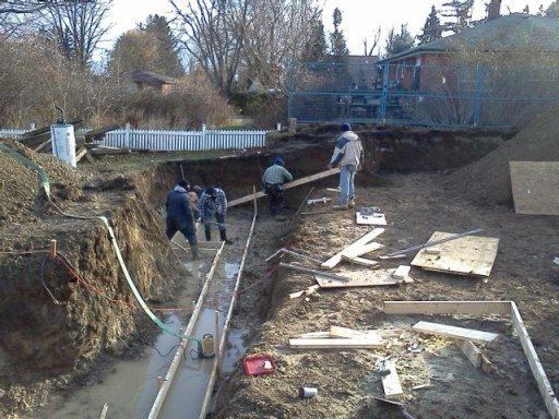 Crew #2 building the footing forms
