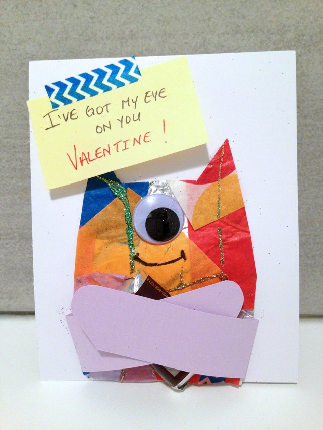 I've got my eye on you | One-eyed monster no-heart Valentine craft