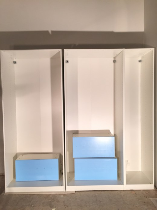 Assembled IKEA closet system for the entryway
