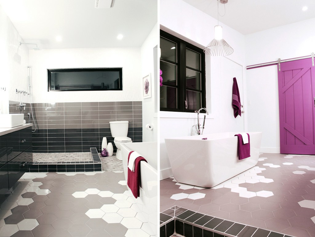Hex tiled floor in two tone grey & white - Master Bath Retreat | The Dreamhouse Project