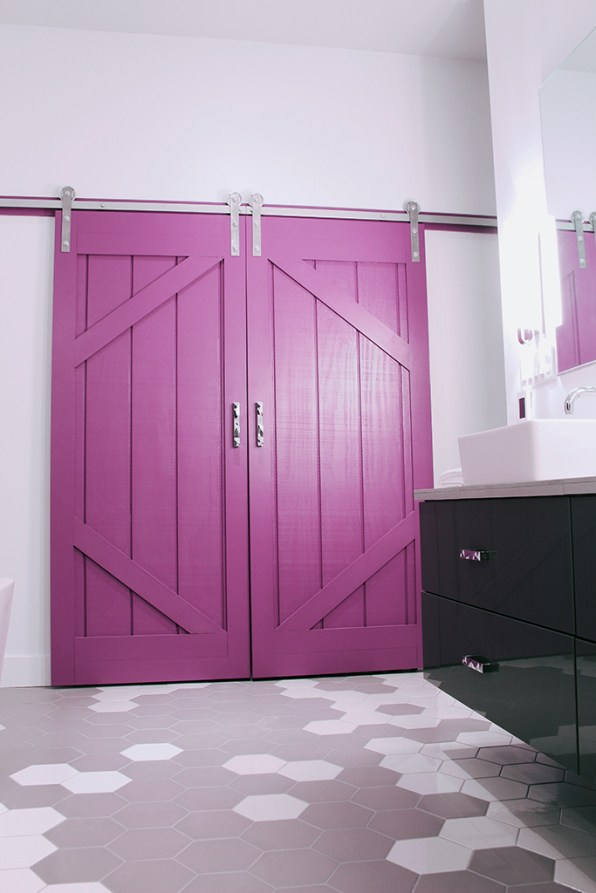 Our closet barn doors painted in PARA Paints Pixie Pop (PF3).