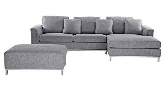 Modern sectional sofa in grey fabric with ottoman