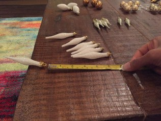 Measure your length for spacing between ornaments