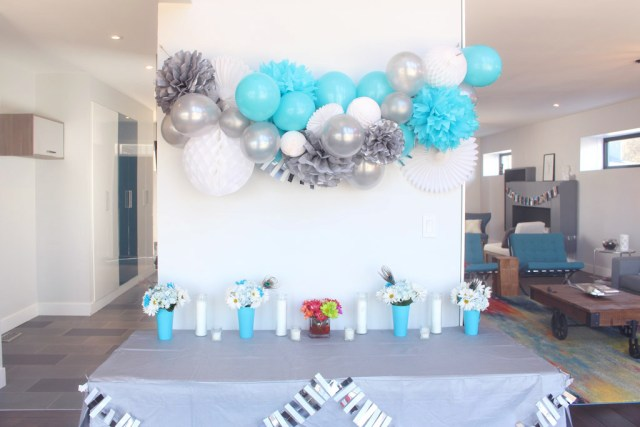 Blue silver & white party decor - Year of Feasting