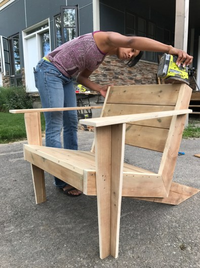 Sanding completed Modern Muskoka Chair