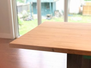 Our current butcher block countertop on the island